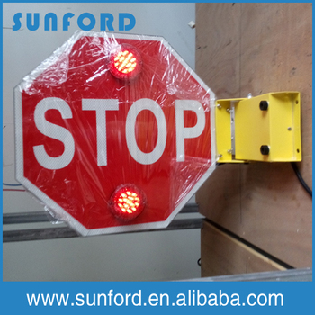 school bus folding stop sign