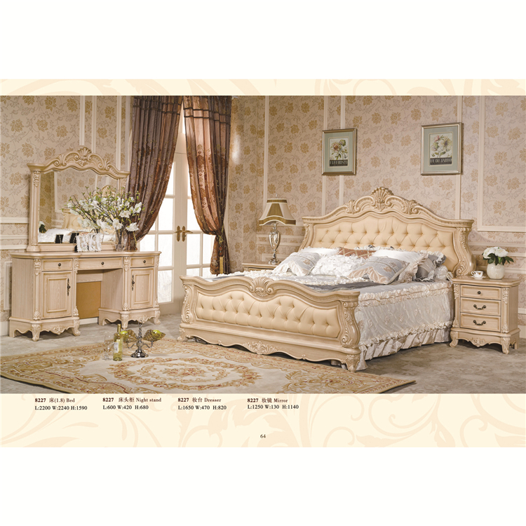 Italy Classic Solid Wood Arving By Hand White Color Set Antique Bedroom Furniture