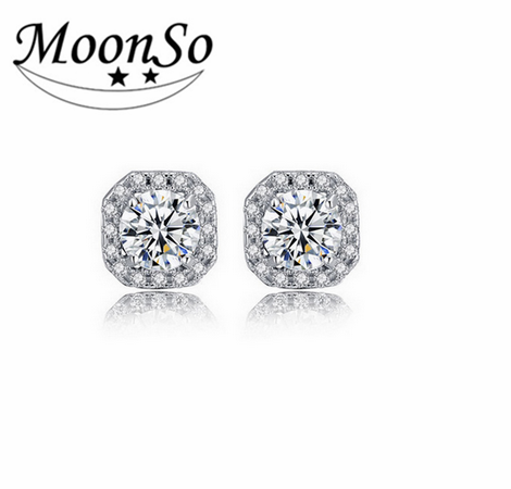 MOONSO 925 Sterling Silver Earring CZ Diamond Earring Wedding Engagement Jewelry Double Halo AE1104S