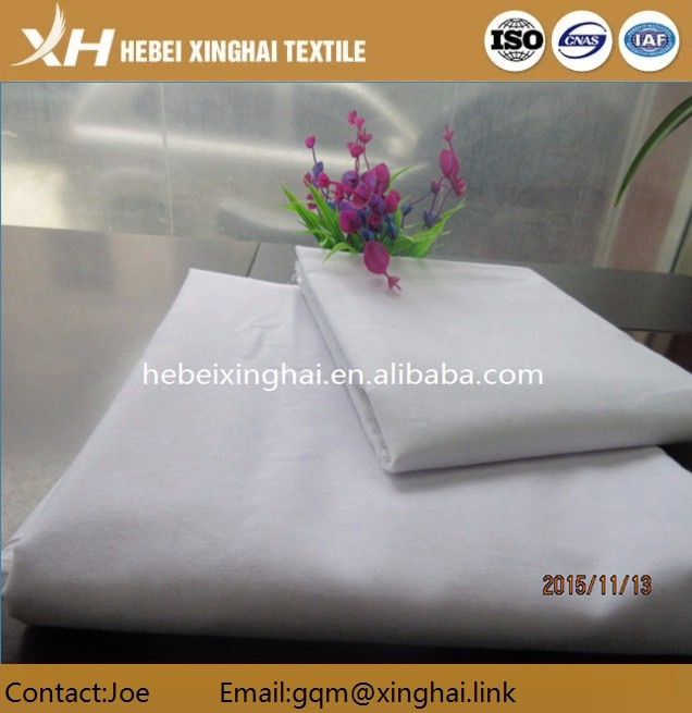 High quality plain T/C color hotel bedding set white fabric