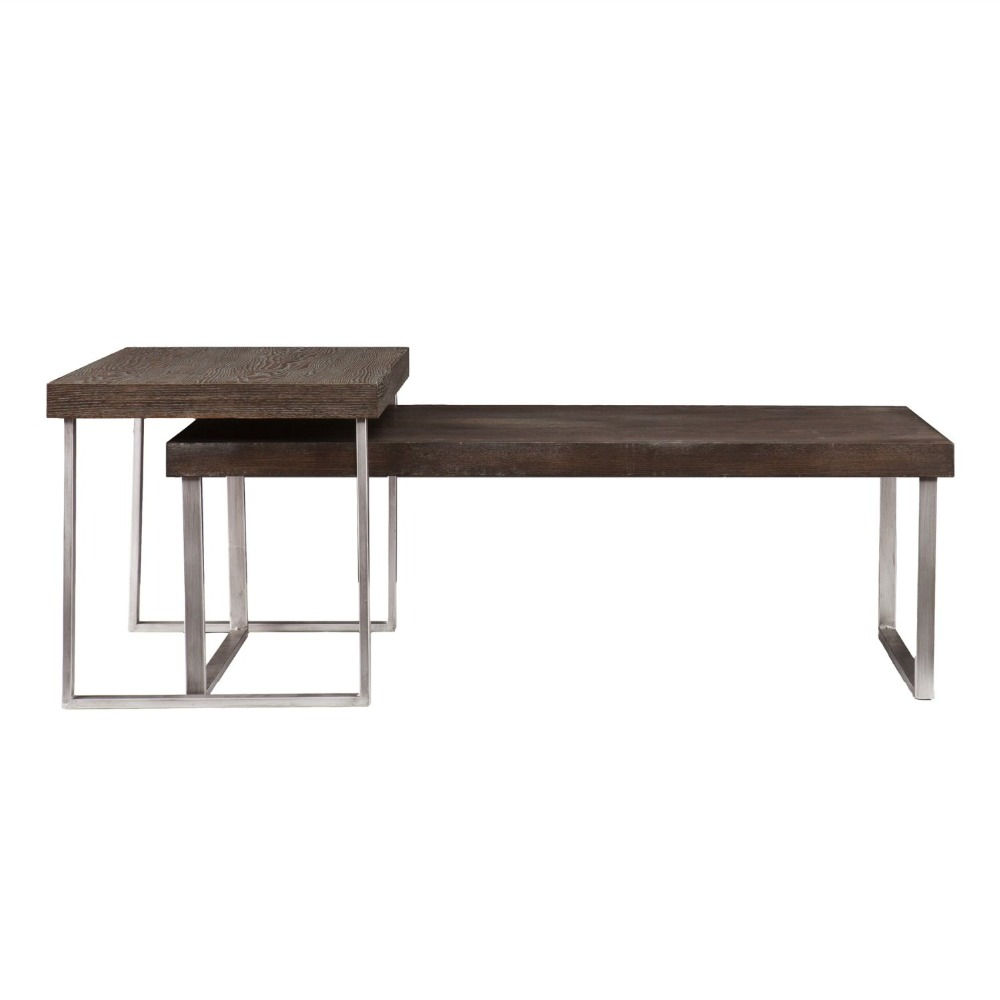 2 Piece Nested Coffee Table in Burnt <strong>Oak</strong> Cocktail Table Slides Under End Table