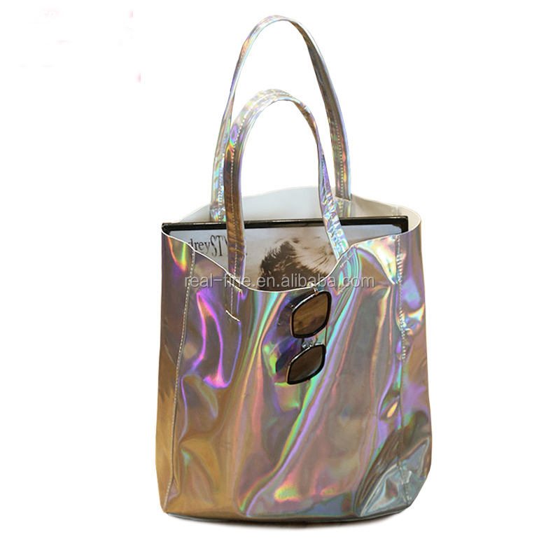 2016 Preppy Style Brief Women Vintage Handbag Laser Silver Hologram Shoulder Bag Big Capacity Handbag Simple Laser Bags