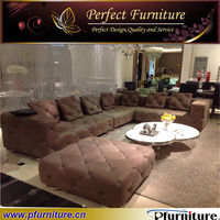 Leather sofa set with many pillows PFS3600