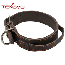 100% genuine leather wide handle collar dog