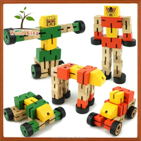 Wooden Deformation Robot Woodman Custom Diy Shenzhen Mini Small Children Puzzle Transformable Car Transform Robot Toy