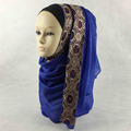 Fashion Muslim Glitter Hijab Viscose Scarf Gold Lace Border Shimmer Shawl Long Scarves QK052