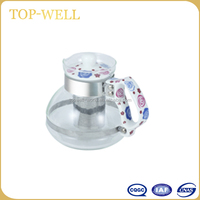 New small glass teapot with stainless steel filter water pot with porcelain lid