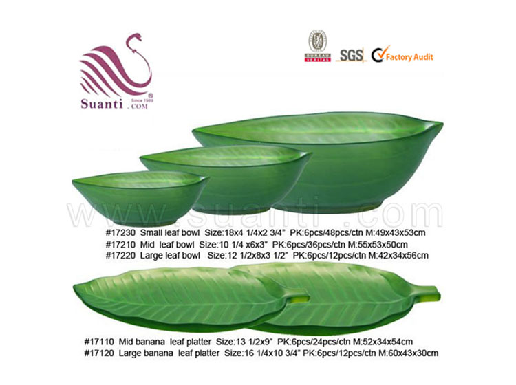 Green Eco-friendly Banana Leaf Resin Fruit Bowl and Platter Ideas