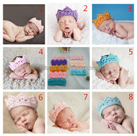 on the new baby crown cap 8 color hand crochet yarn hair band
