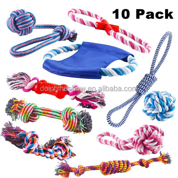 Durable cotton rope dog toys 10 pack gift set Free assortment pet chew dog toy 2017