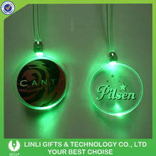 Advertising Souvenir LED Flashing Logo Printed Necklace, Colorful Light Party Up Logo Printed Necklace For Promotional Gifts