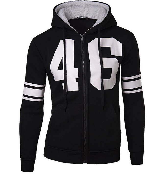 z87075A Printed lambswool zipper-up with hat coat 3d men's hoodies