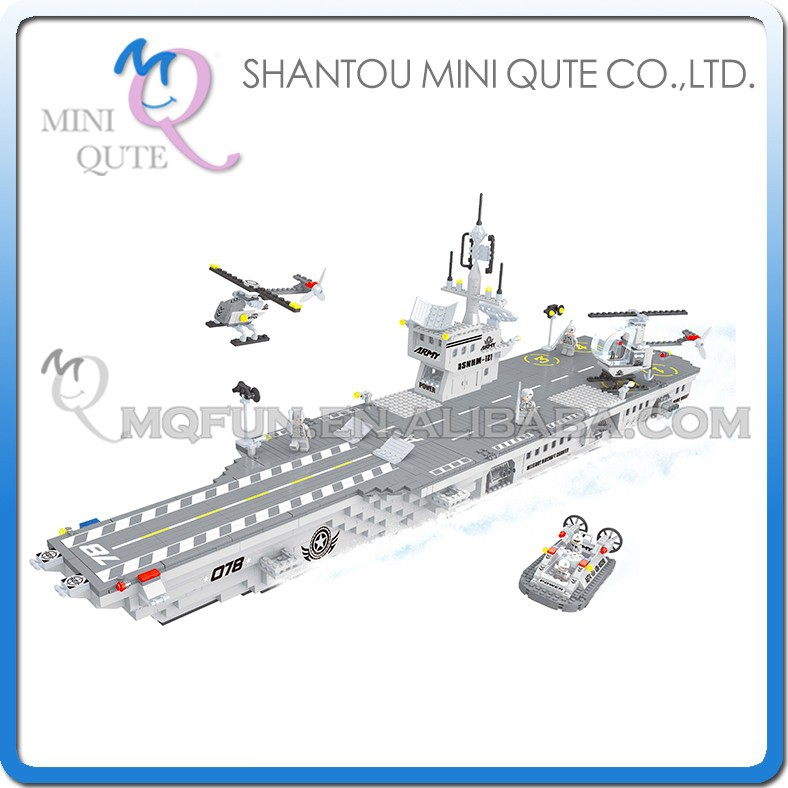 Mini Qute DIY military army warship aircraft carrier action figures plastic cube building blocks bricks educational toy NO.22111