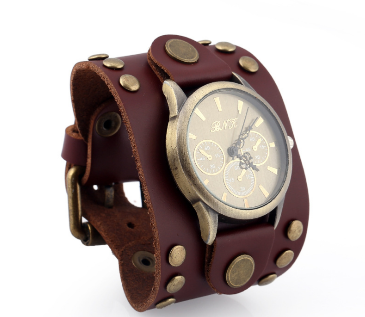 B56-001 personalized vintage wide brown and black genuine leather men western wrist watches