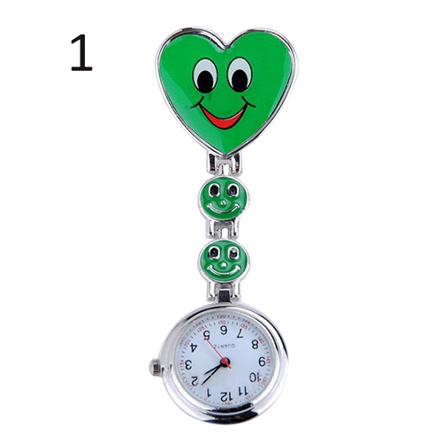 2015 New Fashion Ladies Women's Cute Smiling Faces Heart Clip-On Pendant Nurse Fob Brooch Pocket Watch 5H93