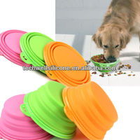 PVC and BPA Free rings Silicone Collapsible Colors Dog Cat Pet Bowl