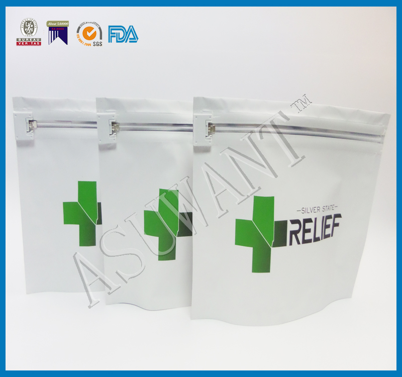 FDA & ASTM Approvable Child Proof Bag with a Childproof Ziplock Made in China for Medical Marjuana Industry Use Packaging