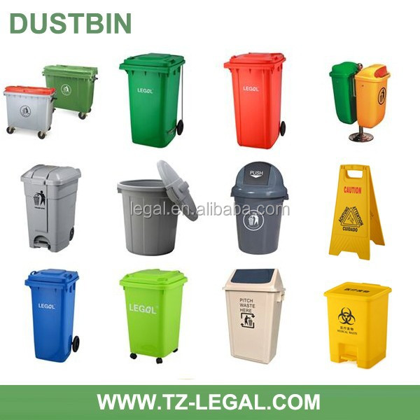 Eco-friendly plastic dustbin with pedal