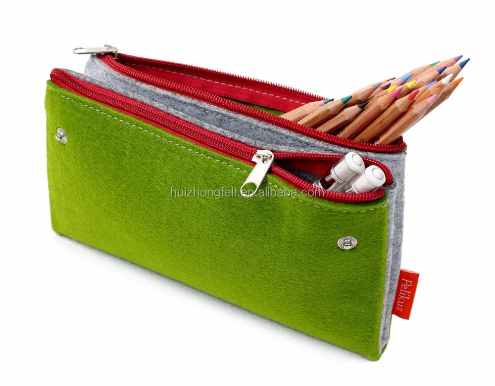 Felt Cosmetics Bag with 2 Zippered Compartments
