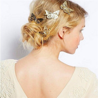 Factory Wholesale metal gold and silver plated mini butterfly hair clips