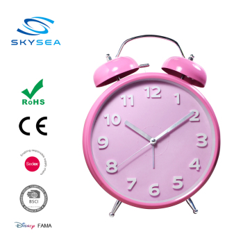 Pink customizable classic metal twin bell table alarm clock, giant clock