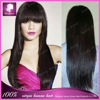 "China manufacturer wholesale cheap 100% virgin Straight black women 20"" brazilian human hair lace front wigs with bangs"