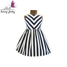 Wholesale Black and White Stripe Dress Cotton Unique Baby Girl Names Images Frock Design Pictures Simple Dress for Kids
