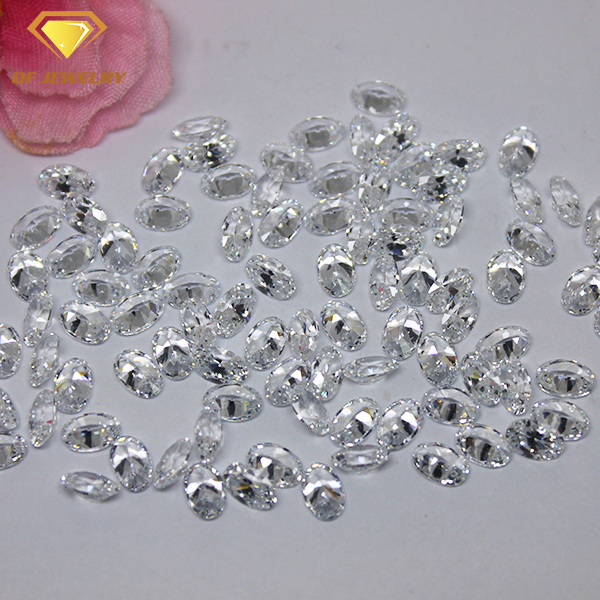 Machine Cut Clear Oval Cubic Zirconia White Zircon Gemstone