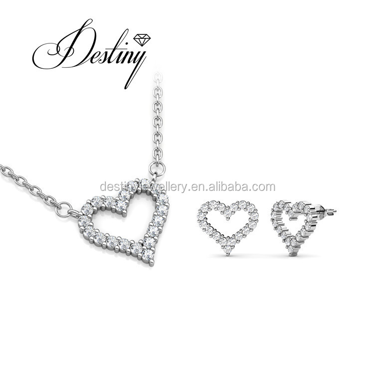 Destiny jewellery Love Pendant Pendant and earring crystals from Swarovski jewelry set DS077