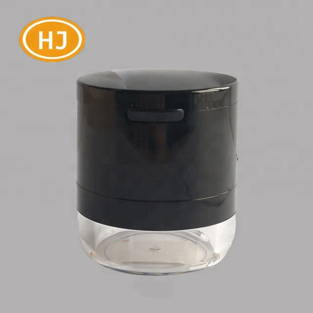 China Supplier High Quality Black Plastic With Mirror Loose Powder Jar