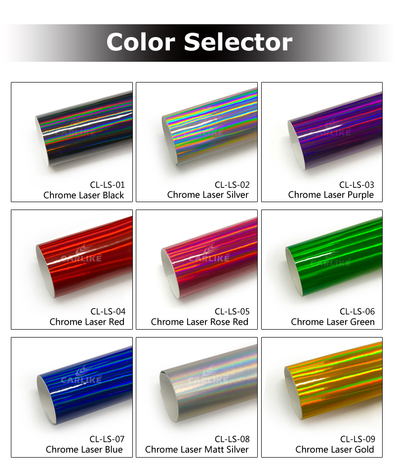 CARLIKE Guarantee 3 Years PVC Chrome Rainbow Iridescent Laser Sticker Car Body Wrap