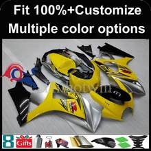 Injection mold yellow silver Body motorcycle cowl for Suzuki GSX-R1000 2007-2008 07 08 GSXR1000 2007 2008 07-08 ABS Plastic Fair