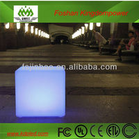 Rechargeable RGB plastic LED glowing outdoor square chair,cube light