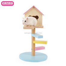 Carno New designed colorful Wooden toy house with ladder for hamster small animal house pet house