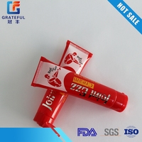 Body lotion laminate packaging with red tube home
