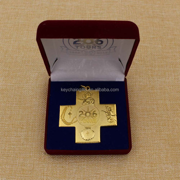 Wholesale 3D iron gold silver cross shape medals / religious medals with gift box