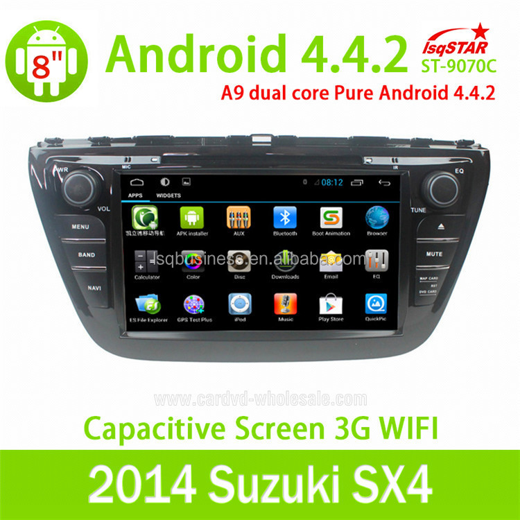 Android 4.4 double din suzuki sx4 car dvd player with radio wifi bluetooth TV