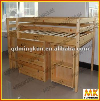 Madera medio alto cama ni os cama con debajo del gabinete - Cama en alto ...