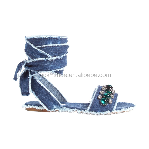 Navy denim flat sandal for summer footwear rhinestone jeans upepr strappy ankle sandals European girls stylish cheap sandals