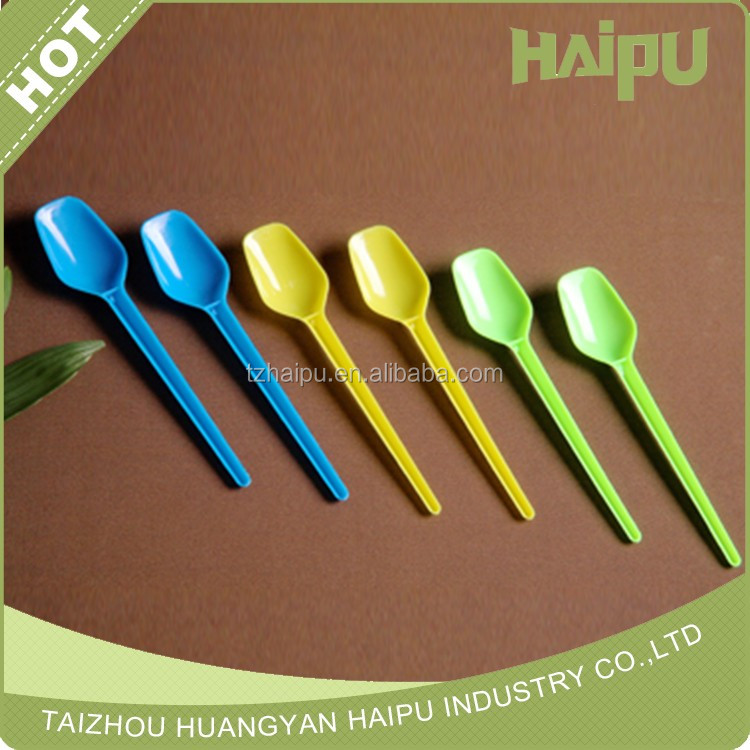Disposable plastic middle weight PS 2.6-2.8g dessert square spoon