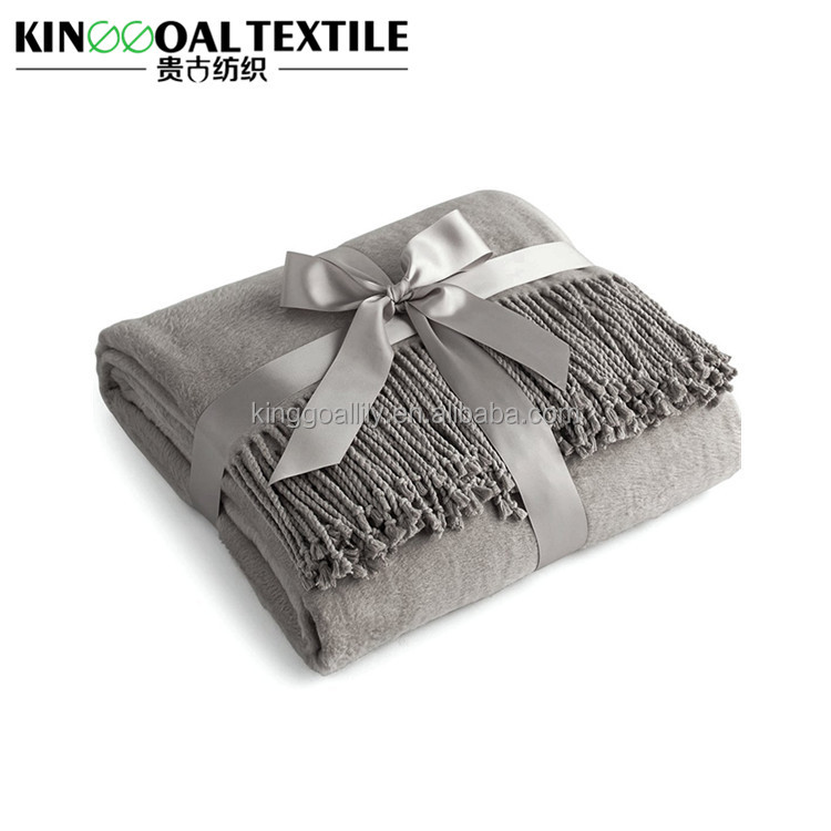 Spring warm lightweight 100% silk fringe throw blanket gray color