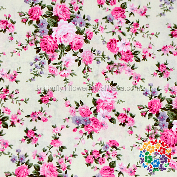 Colorful Pink Flowers Printing Cotton Fabrics Wholesale Factory Directly Sale Floral Material Textile