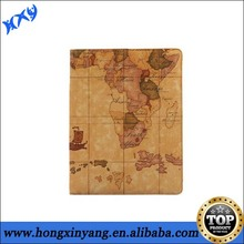 2014 Shenzhen hot selling world map wallet pu leather case cover for ipad mini.
