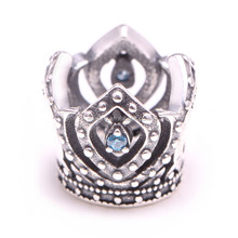 CHM0006 European style 925 sterling silver crown charm with blue cubic zirconia for snake chain bracelet