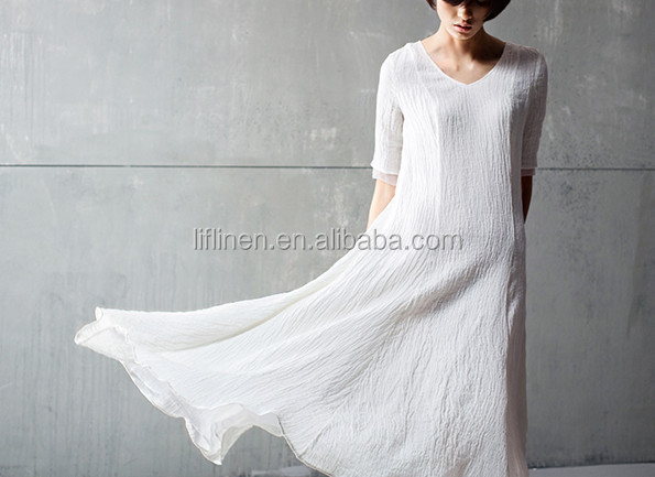 White Popular wrinkle ladies wrinkle fashion linen dress fabric