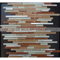 Decorative material glass mosaic tile strip shape for home decoration (ST056)