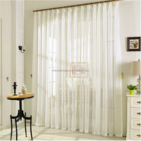 Pure White Embroidered Sheer Voile Curtain