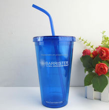 Insulated Plastic Double wall Straw Mug with Paper insert,Made of plastic PS
