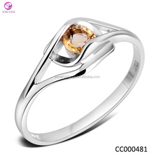 925 Sterling silver Yellow Stone Ring, 925 silver ring with yellow stone Wholesale