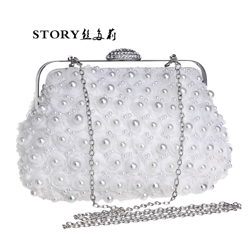korean fashion luxury wedding party formal pearl beaded rose flower dinner clutch purses evening bag